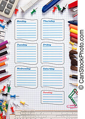 school schedule for the week - blank school schedule for the...