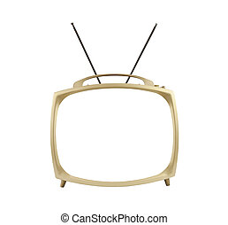 Blank Screen 1950's Portable Television with Antennas Up - ...