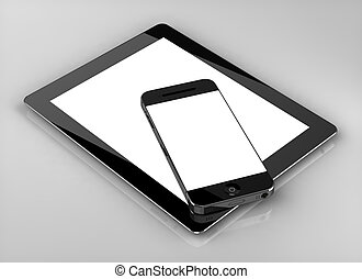 Blank screen custom smart phone tablet isolated