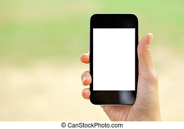 Blank screen mobile phone with woman hand