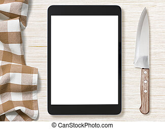 blank screen of black tablet pc for cooking recipe notes