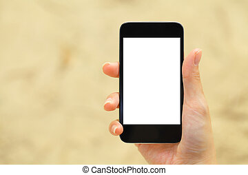 Blank screen on mobile with hand holding