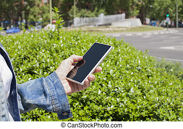 blank screen phone urban woman