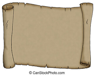 A very old piece of parchment scroll, perhaps for a pirate treasure map.