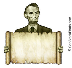 Blank Scroll Held by Abraham Lincoln - Illustration of a...