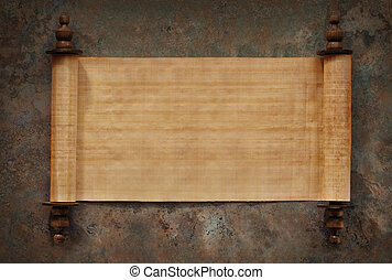 Blank Scrolls Open - Ancient parchment scrolls with blank...