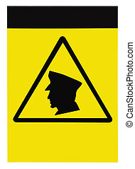 Blank security guards on patrol warning sign