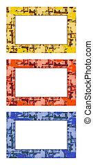 Blank set of 3 rusty painted metal frames with grunge covered texture, isolated on white background: red, yellow and blue.
