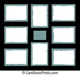 Blank Set Postage Stamp Framed by Black Border