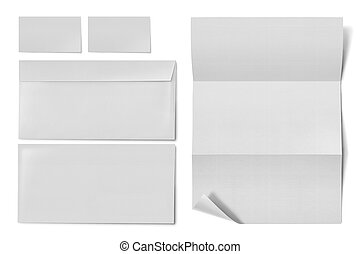 business stationary set. envelope, sheet of paper and business card on white background