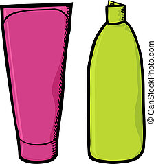 Blank Shampoo Containers - Two generic colorful soap and...