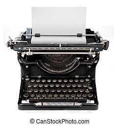 blank sheet in a typewriter - old fashioned, vintage...