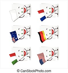 Blank sheet of paper cartoon character bring the flags of various countries