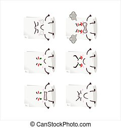 Blank sheet of paper cartoon character with various angry expressions