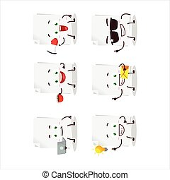Blank sheet of paper cartoon character with various types of business emoticons