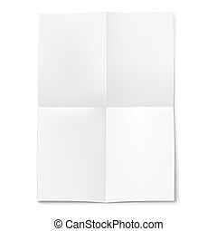 Blank sheet of paper folded in four on white background