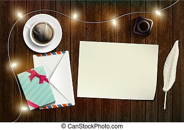 Blank sheet of paper. New Year or Christmas card.