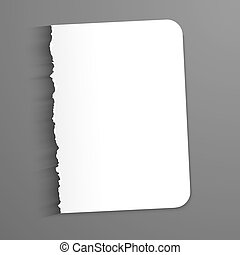 Blank sheet of paper. Vector illustration on a dark background. Ragged edge.