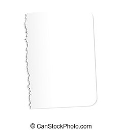 Blank sheet of paper. Vector illustration on a white background. Ragged edge.