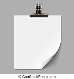 Blank sheet of paper with clamp. Vector EPS10