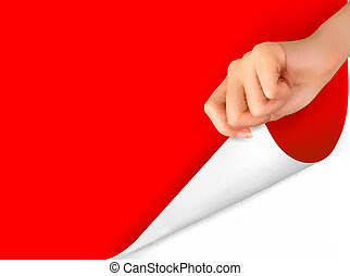 Blank sheet of paper with hand. Vector illustration