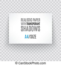 Blank sheet of paper with page curl and shadow, design element
