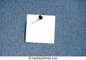 blank sheet paper on bulletin board