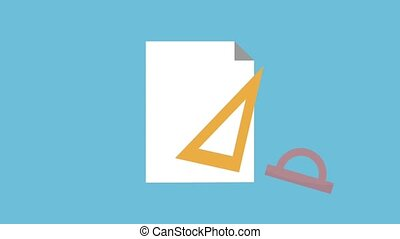 Blank sheet with geometric compass tool and triangle ruler...