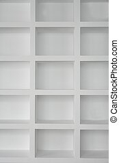 Blank shelving in white empty copy space rows