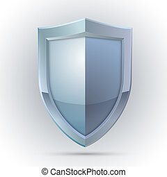Blank shield protection emblem isolated vector illustration
