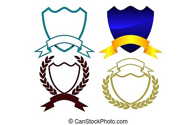 Blank Shield Ribbon Template Set