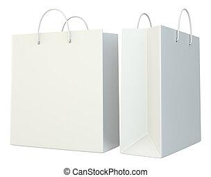 blank shopping paper bags set.
