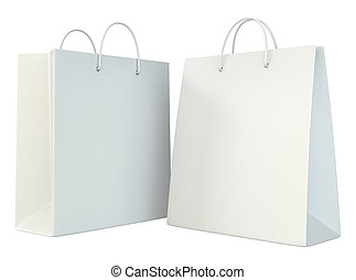 blank shopping paper bags template set