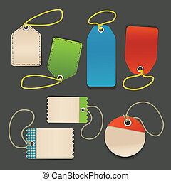 Blank shopping tags with rope template