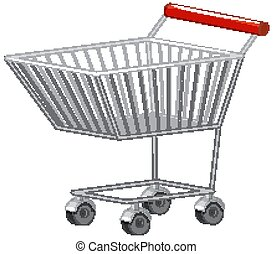 Blank shopping trolley cart isolated on white background