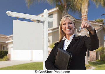 Blank Sign and Real Estate Agent Handing Over the Keys