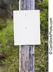 Blank Sign Background on Telephone Pole