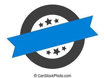 blank sign. blank blue-black round ribbon sticker
