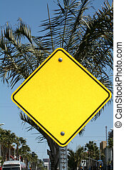 Blank Sign - Blank Yellow Street Sign - perfect for adding...