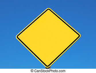 Blank Sign For Text - blank yellow road sign for text or...