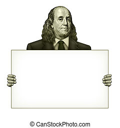 Blank Sign Held by Benjamin Franklin - Illustration of a...