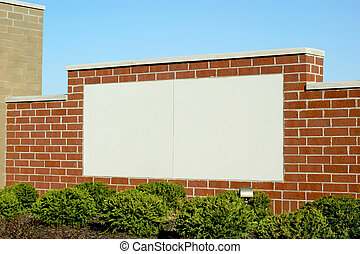 Blank Sign in Brick - Blank brick sign area in white with...
