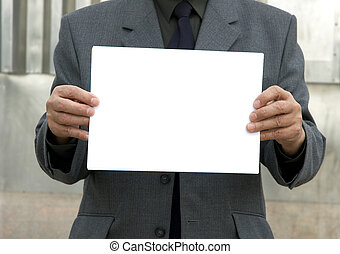 blank sign in hands