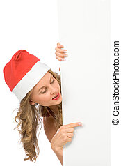 Blank sign ? Mrs Santa Claus (with copy space)