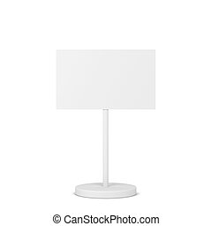 Blank sign on a metal pole stand mockup
