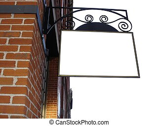 Blank Sign on Wall - Corner of Red Brick Building with empty...