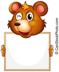 Blank sign template with brown bear on white background