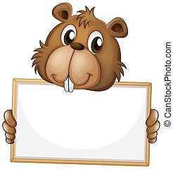 Blank sign template with cute beaver on white background