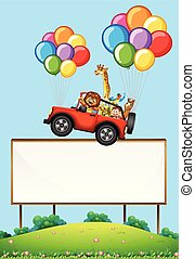 blank sign with animals in a floating car