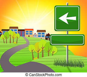 Blank Sign With Arrow To Countryside 3d Illustration